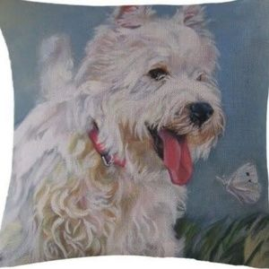 Pillow Cover- NEW-  Cute White Dog